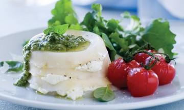 Menu image, Ricotta Pesto Lasagna, Crispy Skin Salmon & Cheese Board with Sweet Treats.
