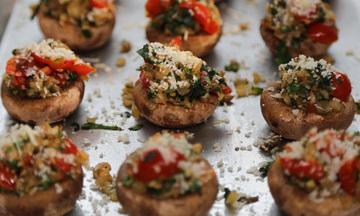 Menu image, Stuffed Mushrooms, Spinach and Ricotta Cannelloni & Tiramisu.