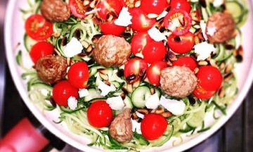 Menu image, Courgetti with grassfed meat balls and pine nuts