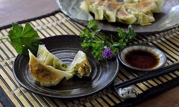 Menu image, Gyoza dumpling, Chicken Teriyaki Sushi rolls and Miso soup
